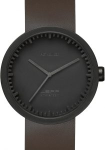 Leff Amsterdam Tube Watch Leather D42 Black/Brown