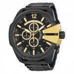 Diesel Mega Chief Chronograph Black Dial Ion-Plated Men's Watch