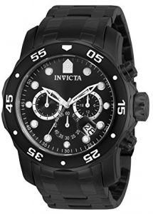 Invicta Men's Pro Diver Collection Chronograph Black Ion-Plated Stainless Steel Watch (0076)